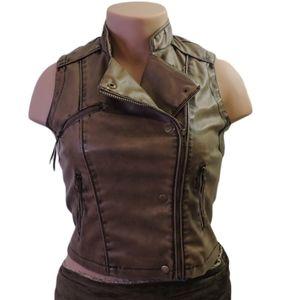 Vintage last kiss leatherlook brown jackets large